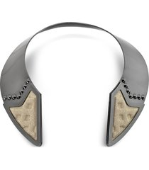 avril 8790 designer necklaces, inverted ruthenium plated brass and golden viscose collar necklace w/studs
