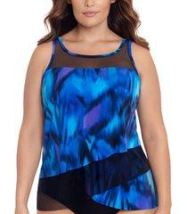 miraclesuit plus size nuage bleu mirage underwire tankini top women's swimsuit