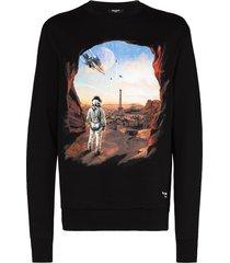balmain astronaut print sweatshirt - black