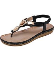 sandalias mujer cristal metal hebilla retro zapatos planos