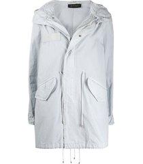 mr & mrs italy drawstring detail hooded parka coat - grey