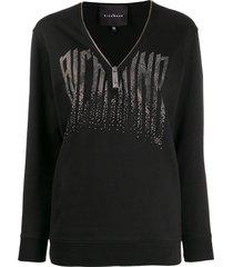 john richmond v-neck zipped sweatshirt - black