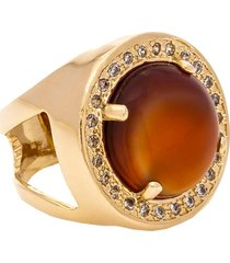 anel kumbayá redondo semijoia banho de ouro 18k pedra natural ágata e cravação de zircônias