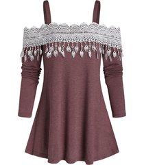 open shoulder tassel lace insert longline t shirt