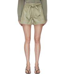 'mari' tie waist vegan leather shorts
