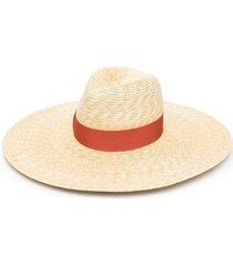 borsalino wide-brim straw sun hat - neutrals