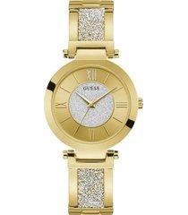 reloj análogo dorado guess