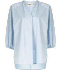 portspure drawstring-waist tunic shirt - blue