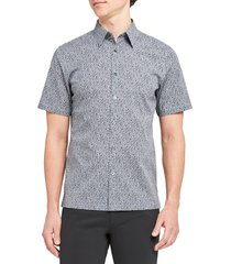 theory irving slim fit cast print short sleeve button-up shirt, size large in russo multi at nordstrom