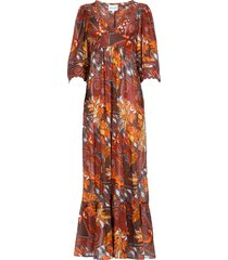 print katoenen jurk ramba  bruin