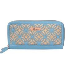 buxton women's metallic laser cut rfid slim double zip wallet