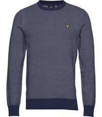 birdseye knitted jumper gebreide trui met ronde kraag blauw lyle & scott