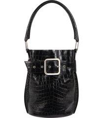 giuseppe zanotti wanda belt-detail bucket bag - black