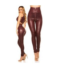 sexy hoge taille wetlook leggings bordeaux