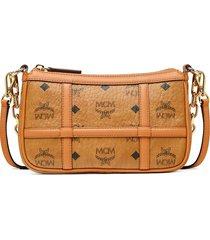 mcm mini delmy visetos shoulder bag - brown