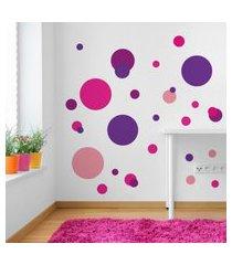 adesivo de parede quartinhos bolas roxo/rosa