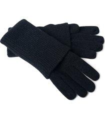 portolano women's ribbed cashmere gloves - black