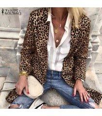 zanzea leopardo de las mujeres ocasional da vuelta-abajo-cuello de impresión tops capas largas traje cardigan -marrón