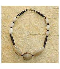 bone beaded necklace, 'anunyan' (ghana)