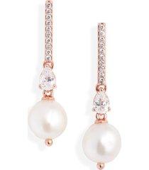 nadri lucca keshi pearl drop earrings in rose gold at nordstrom