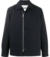 jil sander button detail harrington jacket - blue