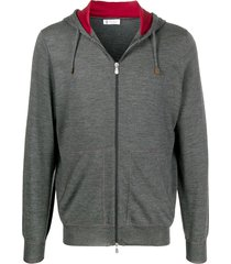 brunello cucinelli fine knit hoodie - grey