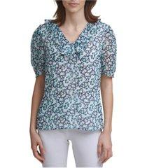 karl lagerfeld paris floral ruffle neck blouse
