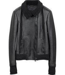 forzieri designer leather jackets, women's black leather and mix media jacket