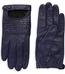 basket weave leather gloves
