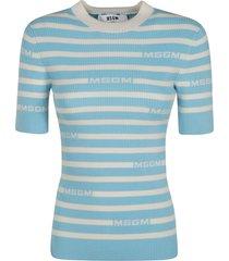 msgm slim fit stripe logo sweatshirt