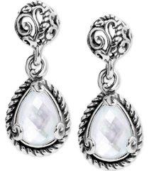 carolyn pollack mother-of-pearl doublet drop earrings in sterling silver