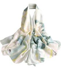 pashmina echarpe lenço artestore 180x90 floral tons verde água