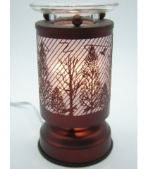 copper wooded scene touch lamp oil/tart warmer - use with scentsy wax