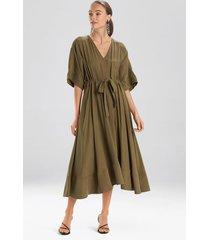 natori sanded twill dress, women's, green, size xs natori