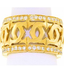 cartier 18k yellow gold double 'c' diamond wedding anniversary women band ring