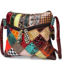 patchwork casual colorful vera pelle crossbody borsa shoulder borsas per le donne