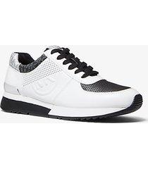 mk sneaker allie in pelle - bianco ottico/nero (nero) - michael kors