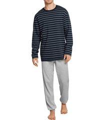 schiesser interlock pyjama gestreept met boord