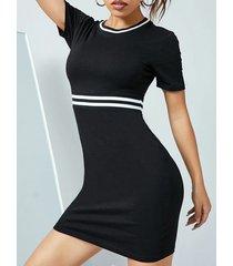 mini vestido de manga corta con cuello redondo y cinta de parche yoins