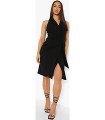 mouwloze blazer jurk met ceintuur, black