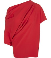red asymmetric ruched top from gianluca capannolo featuring asymmetric design, ruched detailing and three-quarter length sleeves.