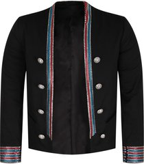 balmain black iconic jacket with colorful stripes for girl