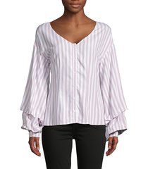 cupcakes and cashmere women's striped v-neck top - parchment - size xs