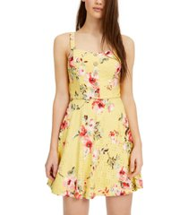 bcx juniors' floral-print eyelet skater dress