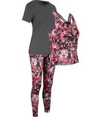 maglia, leggings, top (set 3 pezzi) livello 2 (nero) - bpc bonprix collection