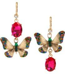 betsey johnson butterfly mismatch drop earrings