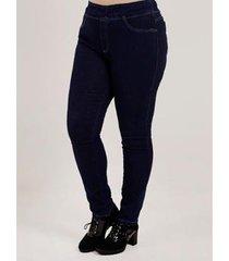 calça jegging jeans plus size feminina - feminino