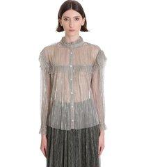 isabel marant étoile elmirae shirt in beige polyester