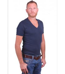 garage t-shirt deep v-neck semi bodyfit navy ( art 0304)