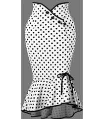 polka dot flounced fishtail skirt